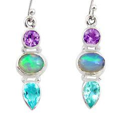 8.26cts natural ethiopian opal amethyst topaz 925 silver dangle earrings r47522