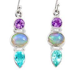 8.22cts natural ethiopian opal amethyst topaz 925 silver dangle earrings r47525