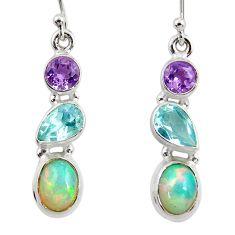 8.29cts natural ethiopian opal amethyst topaz 925 silver dangle earrings r47527