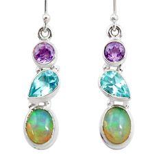 8.13cts natural ethiopian opal amethyst topaz 925 silver dangle earrings r47530