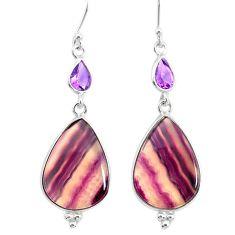 21.01cts natural fluorite amethyst 925 silver dangle earrings r86662
