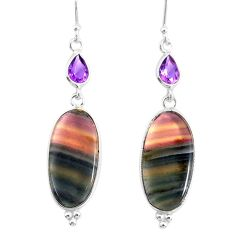 19.73cts natural fluorite amethyst 925 silver dangle earrings r86663