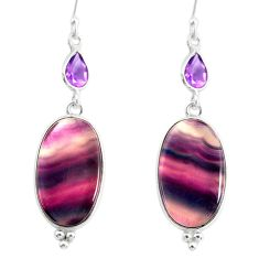 20.40cts natural fluorite amethyst 925 silver dangle earrings r86666