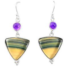 22.78cts natural fluorite amethyst 925 silver dangle earrings r86667