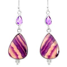 17.96cts natural fluorite amethyst 925 silver dangle earrings r86672