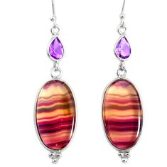 20.40cts natural fluorite amethyst 925 silver dangle earrings r86676