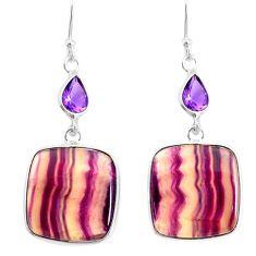 22.08cts natural fluorite amethyst 925 silver dangle earrings r86680