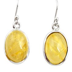 13.28cts natural golden tourmaline rutile 925 silver dangle earrings r26282