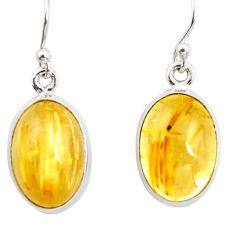 11.66cts natural golden tourmaline rutile 925 silver dangle earrings r26284