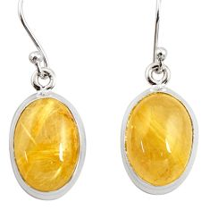 11.23cts natural golden tourmaline rutile 925 silver dangle earrings r26287