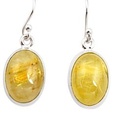 12.07cts natural golden tourmaline rutile 925 silver dangle earrings r26290