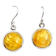 13.69cts natural golden tourmaline rutile 925 silver dangle earrings r26292