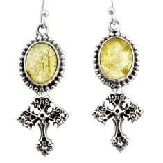 8.47cts natural golden tourmaline rutile 925 silver holy cross earrings d47591