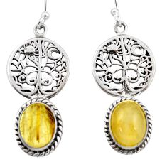 8.46cts natural golden tourmaline rutile 925 silver tree of life earrings d47594