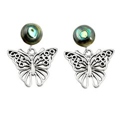 Natural green abalone paua seashell 925 silver butterfly earrings c11719