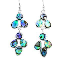 8.15cts natural green abalone paua seashell 925 silver chandelier earrings t4696