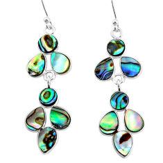 9.72cts natural green abalone paua seashell 925 silver chandelier earrings t4697