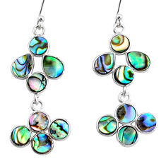8.95cts natural green abalone paua seashell 925 silver chandelier earrings t4814