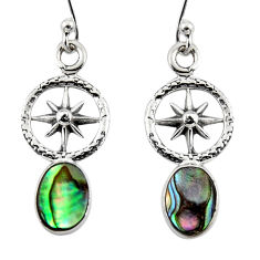 3.00cts natural green abalone paua seashell 925 silver dangle earrings r48210