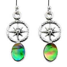 2.92cts natural green abalone paua seashell 925 silver dangle earrings r48211