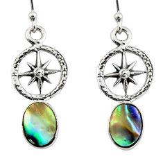 3.15cts natural green abalone paua seashell 925 silver dangle earrings r48222
