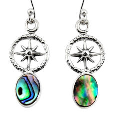 3.12cts natural green abalone paua seashell 925 silver dangle earrings r48233