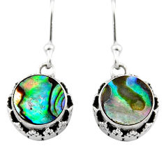 4.22cts natural green abalone paua seashell 925 silver dangle earrings r53082