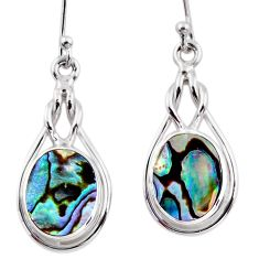 7.25cts natural green abalone paua seashell 925 silver dangle earrings r53927
