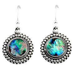 3.83cts natural green abalone paua seashell 925 silver dangle earrings r53989