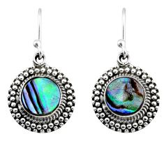 3.58cts natural green abalone paua seashell 925 silver dangle earrings r53990