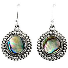 3.41cts natural green abalone paua seashell 925 silver dangle earrings r53991
