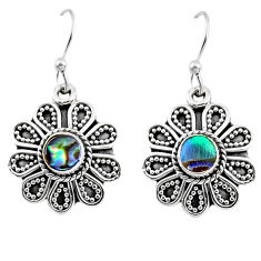 1.01cts natural green abalone paua seashell 925 silver dangle earrings r54007