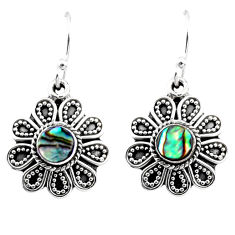 1.02cts natural green abalone paua seashell 925 silver dangle earrings r54010