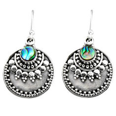 1.17cts natural green abalone paua seashell 925 silver dangle earrings r54030