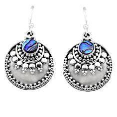 1.17cts natural green abalone paua seashell 925 silver dangle earrings r54031