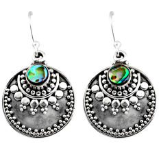 1.17cts natural green abalone paua seashell 925 silver dangle earrings r54032