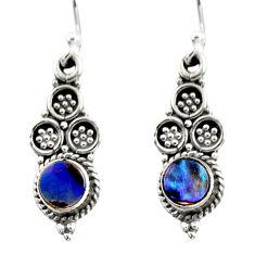 0.80cts natural green abalone paua seashell 925 silver dangle earrings r54047