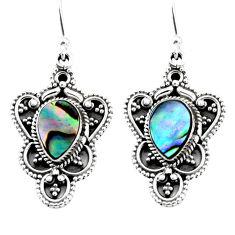 4.55cts natural green abalone paua seashell 925 silver dangle earrings r54092