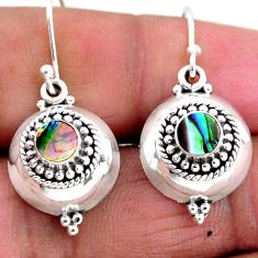 0.90cts natural green abalone paua seashell 925 silver dangle earrings r54105
