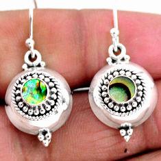 0.90cts natural green abalone paua seashell 925 silver dangle earrings r54106