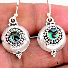 0.90cts natural green abalone paua seashell 925 silver dangle earrings r54108