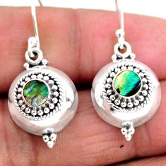 0.90cts natural green abalone paua seashell 925 silver dangle earrings r54109