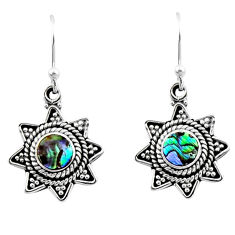 0.78cts natural green abalone paua seashell 925 silver dangle earrings r54207