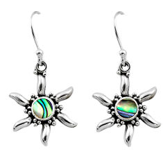 0.61cts natural green abalone paua seashell 925 silver dangle earrings r54227