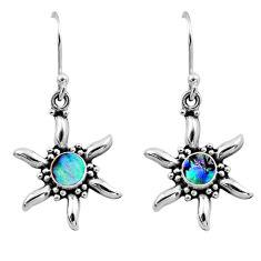 0.62cts natural green abalone paua seashell 925 silver dangle earrings r54229