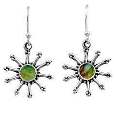 0.87cts natural green abalone paua seashell 925 silver dangle earrings r54250