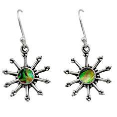 0.86cts natural green abalone paua seashell 925 silver dangle earrings r54251