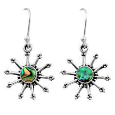 0.85cts natural green abalone paua seashell 925 silver dangle earrings r54252