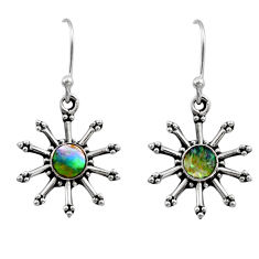 0.86cts natural green abalone paua seashell 925 silver dangle earrings r54254