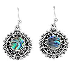 2.72cts natural green abalone paua seashell 925 silver dangle earrings r55190